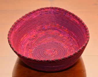 Fabric Rope Coiled Basket Handmade: Fuchsia Pink Purple Metallic Fuchsia- Triangle