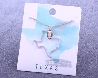 Customizable! State of Mine: Texas Football Enamel Necklace - Great Football Gift!