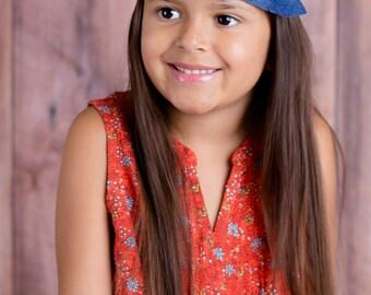 Blue Feather Headband - Felt Headband - Fashion Headband - Feather Headband - Flower Headband - Felt Headband Baby - Dusty Blue & Denim