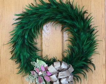 Large Hackle Feather Wreath Emerald