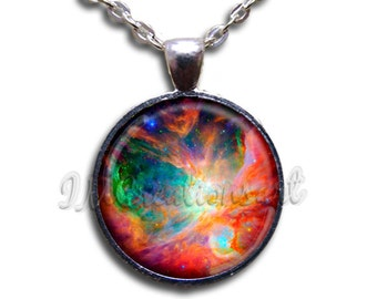 Orion Nebula Glass Dome Pendant or with Chain Link Necklace SM154