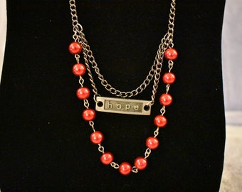 """23"""" Red Beaded Silver Multi Strand Necklace with Charm"""