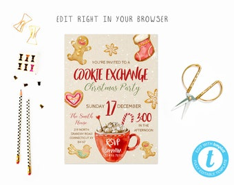 Holiday cookie exchange party tem, TRY BEFORE you BUY, instant download, edit yourself invitation,Template Editable