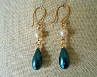 Blue and pearl drop earrings, Blue drop earrings gold, Blue earrings gold