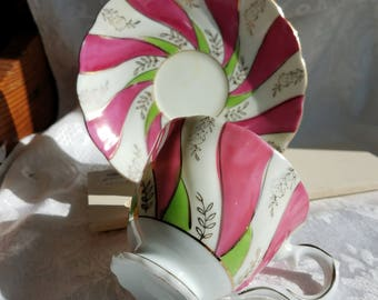 Vintage Japanese Lustreware Footed Tea Cup and PInk and Lime Green Tea cup and saucer Porcelain Shabby Chic Tea party, Swirl gold gild