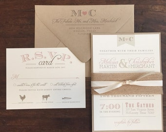 Vintage Wedding Invitation Suite // Rustic and Vintage // Twine and Burlap // Purchase this for a SAMPLE