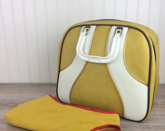 Vintage Yellow Bowling Ball Bag Set Complete with SeeSaw Polisher Bag - Retro Bowling Bag - Bowling Accessories Travel Bag - Sporting Goods