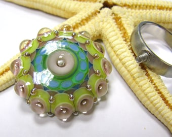 SMAUGGS handmade ring top (1p, 30mm x 10mm), glass, blue, green, light purple,with 2,5mm nut