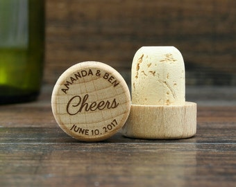 Personalized Wine Stopper, Engraved Wedding Favor, Custom Wedding Gift, Cheers Wine Cork, Wedding Gift Ideas, Bridal shower favors
