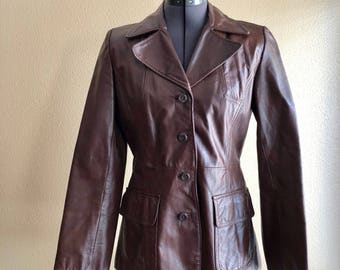 Vintage Brown Leather Blazer