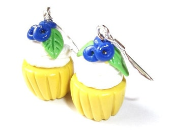 Blueberry Cupcake Earrings ( kawaii kids earrings fake food polymer clay food cupcakes food earrings cupcake jewelry miniature food )