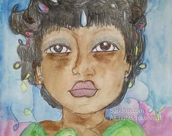 Precious Black Child Natural Curly Hair Pearls Green Dress Little More Girl Hope in Art