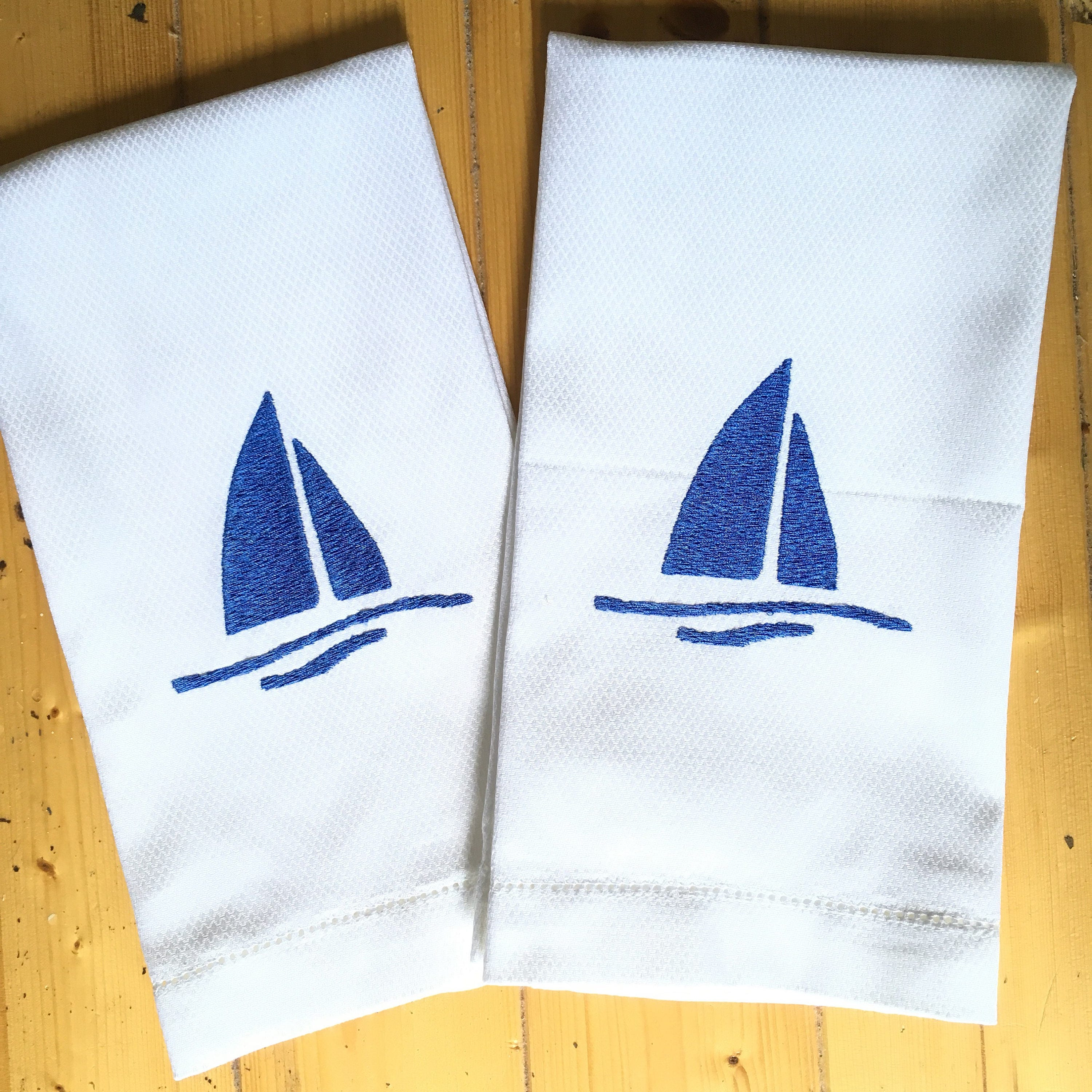 Embroidered Towels For Wedding Gift: Monogram Hand Towel With Embroidered Sailboat / Wedding Gift