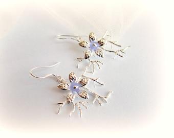 Orecchini ramo d'albero argento pendenti albero orecchini perle pietra viola regalo per lei orecchini pietre dure pendenti fiori