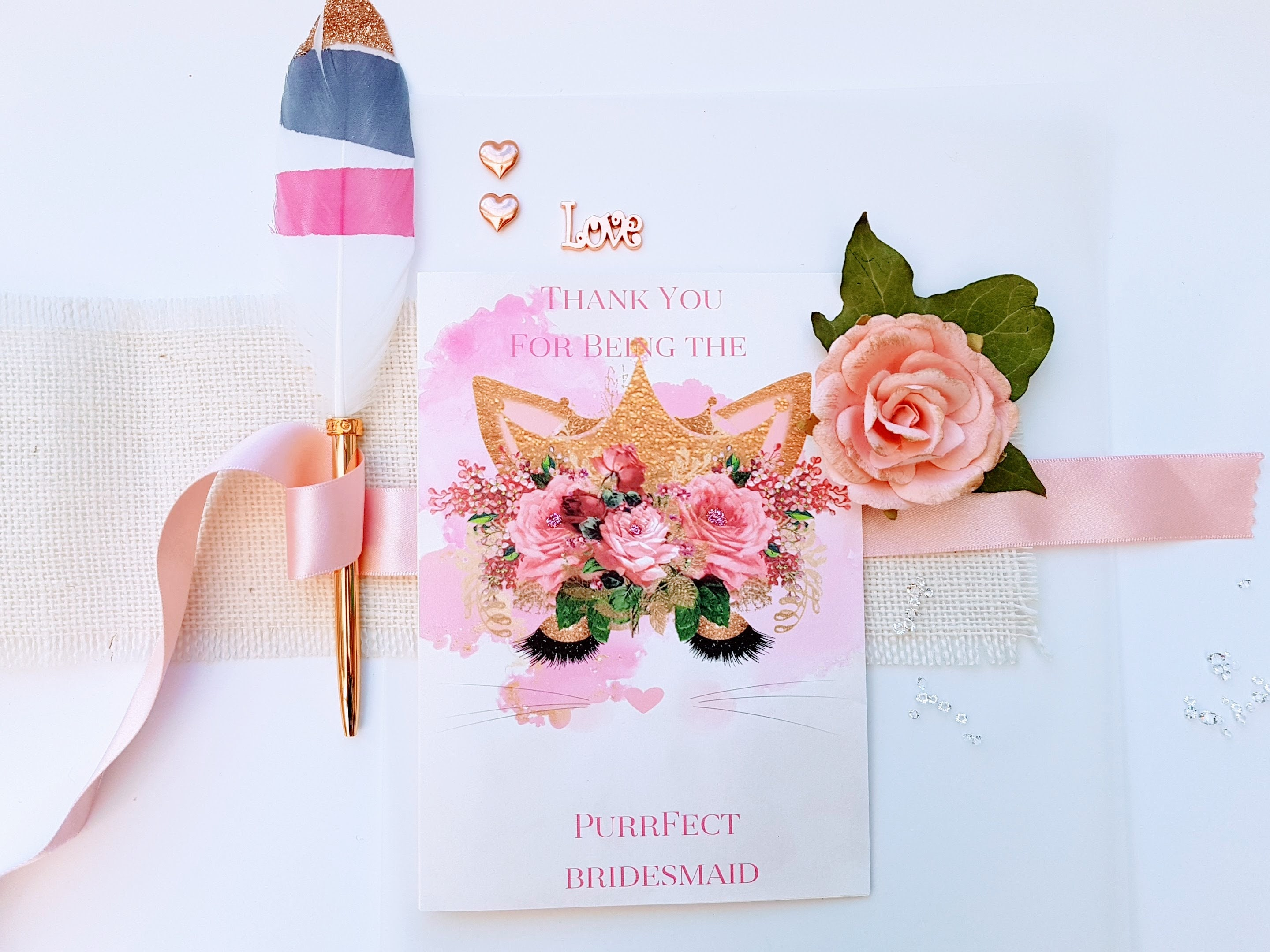 Personalised Bridesmaid Greeting Card Purrfect Design Floral