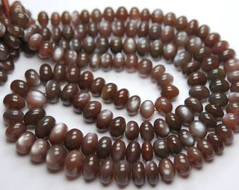 7 Inch Strand,Finest AAA Quality,Natural Chocolate MOONSTONE Faceted Rondelles,8-10mm size