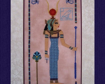 Hathor, Lady of Turquoise! Counted Cross Stitch Instant Download Pattern. Counted Embroidery Chart. X Stitch Ancient Egyptian Goddess Design