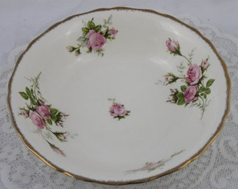 """Beautiful """"The Hallmark Of Quality - Canonsburg, warranted 22 kt Gold"""", Pink T-Rose Serving Bowl"""