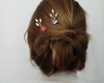 Coral Hair Accessory, Coral hair Flower, Set of 2 Coral hair Pins, Coral Hair Clip, Coral and Silver Wedding Hair Pins, Bridal Hair Pins