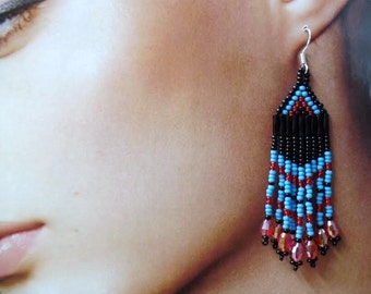 Native Style Blue Turquoise Crystal Dangle Beaded Earrings, Sterling Silver Ear Wires. Handmade