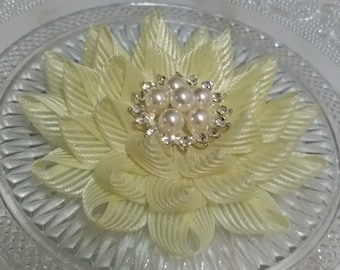 Handmade Ribbon Flower With Rhinestone And Pearl (3.5 inches) In Lt Yellow MY-740 Ready To ship
