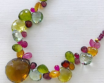 Annalise necklace in Prasiolite, Citrine, Pink Tourmaline, Peridot, and Whiskey Quartz
