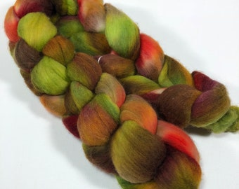merino spinning fiber, kettle-dyed, hand-dyed, combed top, roving - earthy greens, browns, rust 4.2 oz