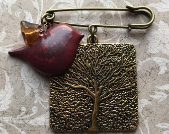 Speckled Metal Burgundy Bird Charm and Metal Tree Pendant One Loop Kilt Safety Pin with Flower Beads - FREE U.S. Shipping!