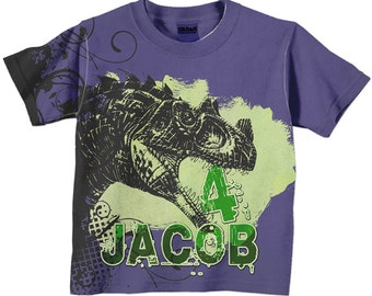 Boys Dinosaur Shirt, Personalized Name Clothing, T-Rex Dinosaur Birthday Shirt, Dino T-Shirt, Purple and Green Boys Top