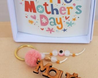 Mothers day keychain, Mothers day gift, greek keychain, mother gift, greek mom, greek mama, gift for mom, mom keychain, Evil eye keychain