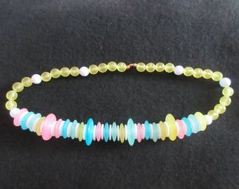 Pastel Necklace with Beads and Saucers