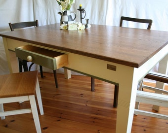 """Kitchen table """"Arthur I."""" From oak, dining table, antique"""