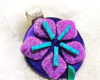 Sakura blossom Jewelry, dichroic glass pendant, cherry blossom, fused glass pendant, flower jewelry, dichroic jewelry, statement jewelry,