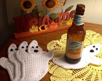 Handmade Crochet Ghost Coasters