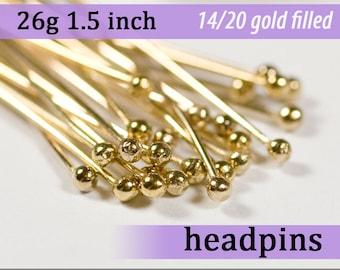 26g 1.5 inches 14k gold fill balled headpins ball dot head pins filled goldfill 26g1.50hp 26 gauge 38mm