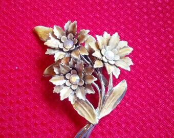 Vintage Yellow enamel Rhinestone Floral CORO Brooch Pin