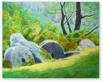 Millstones at Longshaw, mixed media, landscape, original painting, acrylic, 16x20