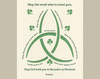 Irish Blessing - May the road rise to meet you... Paper Cut Trinity Knot design Wall Art Wall Decor  St. Patrick's Day 8X10 Unframed