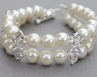 Bridal 2 Strand Bracelet, Wedding Jewelry, Bridal Bracelet, Pearl Jewelry, Bridesmaid Gift, Rhinestone Pearl Bracelet