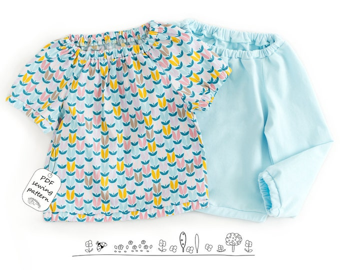 Featured listing image: Girls top pattern pdf, baby top pattern, girls sewing patterns