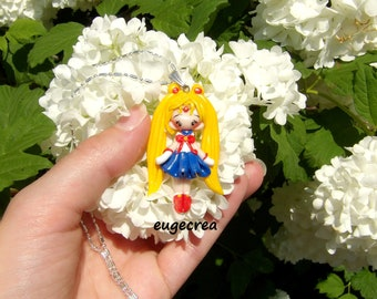 Necklace manga polymer clay and silver metal clay doll