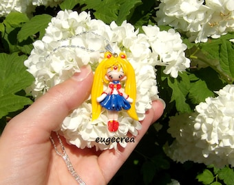 Halskette-Puppe Manga Teig Fimo und Silber Metall