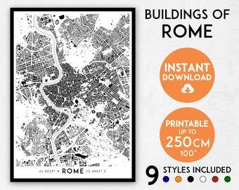 Rome map print, Rome print, Rome city map, Italy map, Rome poster, Rome wall art, Map of Rome, Rome art print, Rome map poster, Rome gift