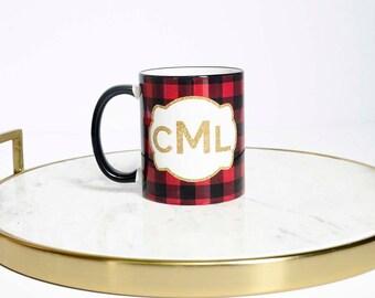 Christmas Monogram Mug, Christmas Mug Monogram, Personalized Monogram Mug, Christmas Mug, Buffalo Plaid Christmas Decor, Buffalo Plaid Mug