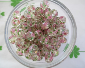 Goldsand Lampwork Glass beads 20pcs 10mm x 7mm Faceted rondelle beads New item