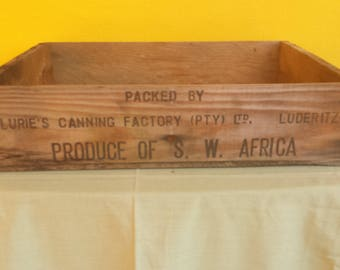 Vintage Wood Box / Wood Crate-RARE / Produce of S W Africa / Rock Lobster Tails / Lurie's Canning Factory