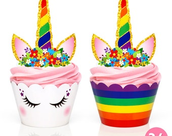 Rainbow Unicorn Party Supplies - Cupcake Toppers + Wrappers + 2 in 1 - Set of 24 /Get it fast! Ready to ship