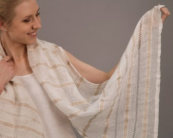 Pure Linen Sheer Scarf/Shawl With Handmade Drawnwork