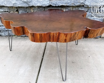 Big Round Coffee Table- Live Edge Slab Table- Tree Round- Tree Cookie- Walnut Color- Elm- Dark Brown Coffee Table- Natural Wood- Reclaimed