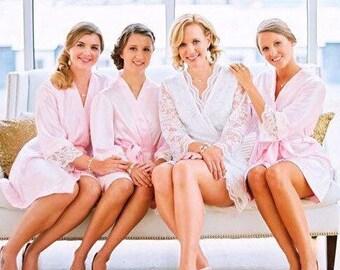 SPECIAL Price Set of 4 Robes- 1 Lace Milan BRIDES robe (lined)  & 3 Parisian Bridesmaids Robes (bridesmaids in blush)